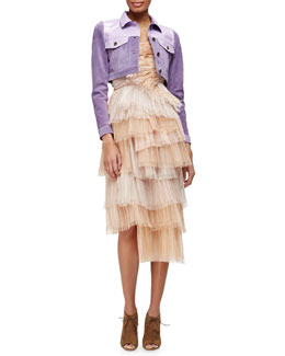 Patent-Trimmed Suede Crop Jacket & Petal-Pleated Tiered Bustier Dress