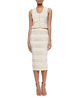 Stripe-Tiered Henley Top & Fold-Tiered Midi Pencil Skirt
