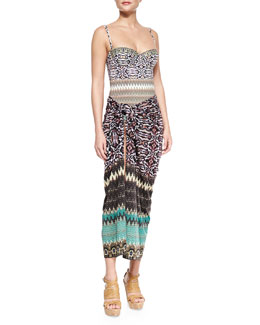 Mixed-Print Underwire One-Piece & Mixed-Print Convertible Sarong Coverup