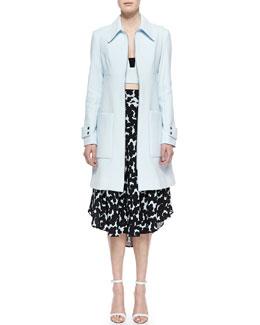 Knit Cotton-Blend City Coat, Morley Stretch-Knit Cotton-Blend Top & Corso Silk Floral-Print Skirt