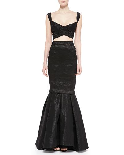 "Organza Crisscross Bra Top, 2"" Leather-Front Plastic Belt & Stretch-Organza Trumpet Skirt"