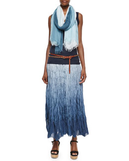 Double Layered Racerback Tank Top, Dip Dye Broomstick Skirt, Leather Double-Wrap Studded Belt & Ombre Fringe Scarf