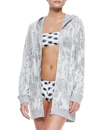 Hooded Boyfriend Oversize Zip Jacket, Dotted Bandeau Swim Top & Bottom