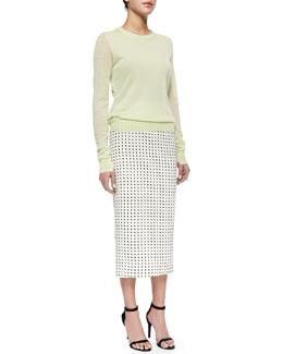 Lex Lightweight Knit Wool Sweater & Long Dotted Pencil Skirt
