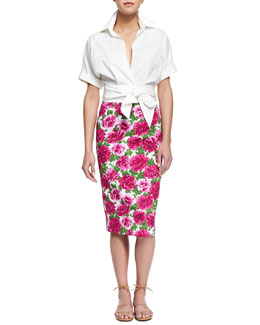 Short-Sleeve Wrap-Front Blouse & Peony-Print Knee-Length Pencil Skirt