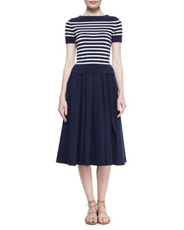 Short-Sleeve Striped Knit Tee & Pleated Full Stretch Cotton Skirt