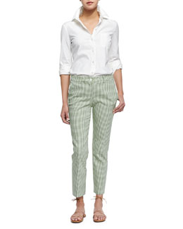 Double-Cuff Button Blouse & Gingham Check Ankle Pants