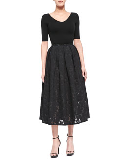 Cashmere Three-Quarter-Sleeve Top & Floral Fil Coupe Midi Skirt, Black