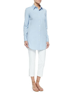 French-Cuff Poplin Blouse & Zip-Detailed Skinny Ankle Pants
