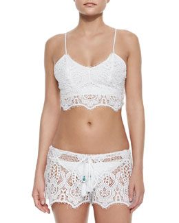 Zoe Crochet Swim Top & Becca Crochet Coverup Shorts