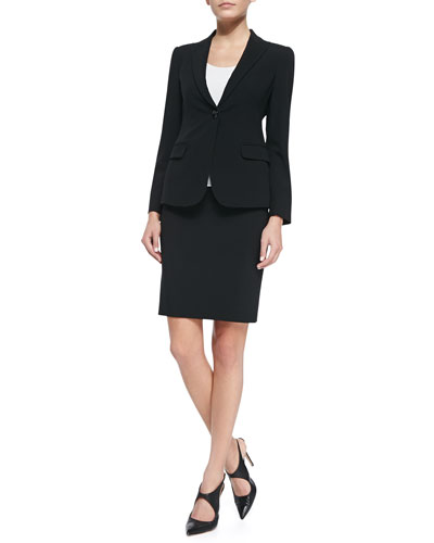 Featherweight Wool One-Button Jacket, Sleeveless Stretch-Jersey Top & Featherweight Wool Pencil Skirt