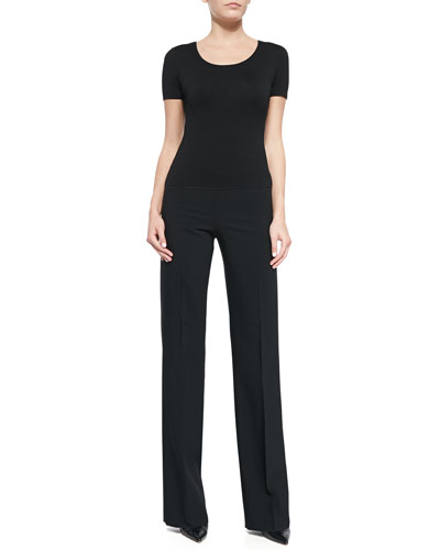 Stretch Jersey Short-Sleeve T-Shirt & Wide-Leg Crepe Pants