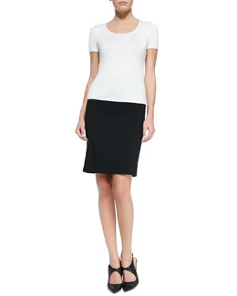 Short-Sleeve Jersey Tee & Featherweight Wool Pencil Skirt