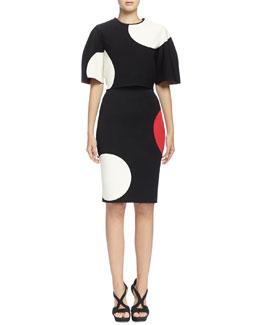 Short-Sleeve Maxi-Dot Crop Top & Skirt