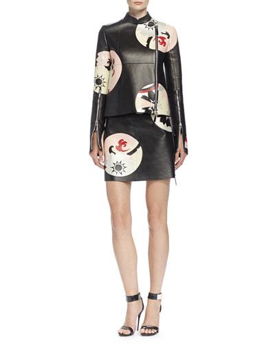 Kansai Engineered Painted Print Leather Jacket & Skirt