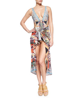 V-Neck Cutout Printed One-Piece & Printed Tie-Waist Sarong