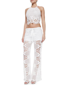 Mari Scalloped Crochet Crop Top & Camden Crochet Pants with Removable Shorts