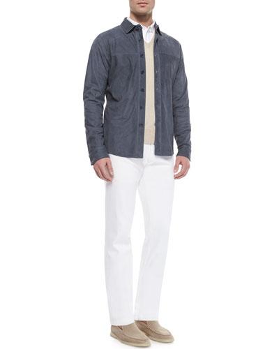 Miami Kidskin Suede Shirt, Baby Cashmere V-Neck Sweater, Andre Button-Down Shirt & Five-Pocket Denim Jeans