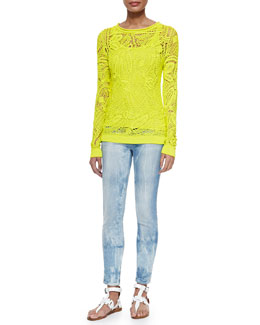 Clancy Floral Crochet Top, Teaser Scoop-Neck Ribbed Tank & 400 Matchstick Distressed Denim Jeans