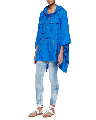 Brayden Tech Fabric Packable Poncho, Teaser Scoop-Neck Ribbed Tank & 400 Matchstick Distressed Denim Jeans