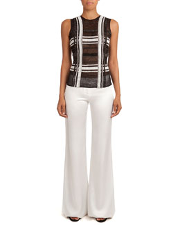 Sheer Beaded Grid-Pattern Top & Flat-Front Flared Sateen Pants