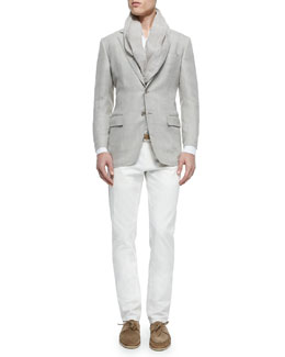 Madrid Check Denim Sport Jacket, Andre Long-Sleeve Linen Shirt & Four-Pocket Cotton/Linen Trousers