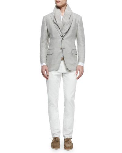 Madrid Check Denim Sport Jacket, Andre Long-Sleeve Linen Shirt & Four-Pocket Cotton/Linen Trousers