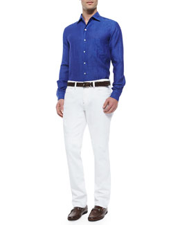 Andre Linen Sport Shirt & Five-Pocket Denim Jeans