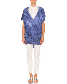 Short-Sleeve Tie-Dye Sweater, Short-Sleeve Pleated-Back Poplin Blouse & Kim Flat-Front Ankle Pants