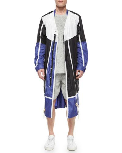 Colorblock Nylon Long Jacket, Fuzzy Crewneck Sweater & Cotton-Blend Fuzzy Shorts