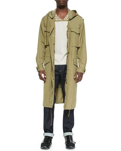 Hooded Long Anorak Jacket & AIDS Awareness Short-Sleeve Tee