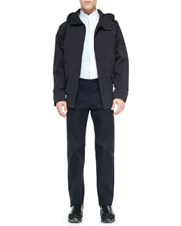 Hooded Short Anorak Jacket, Bicolor Zipper-Down Shirt & Flat-Front Trouser