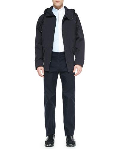 Hooded Short Anorak Jacket, Bicolor Zipper-Down Shirt & Flat-Front Trouser