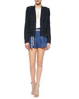 Short Tweed Woven Frayed Jacket, Sleeveless Silk Keyhole Blouse & Paperbag-Waist Linen Shorts