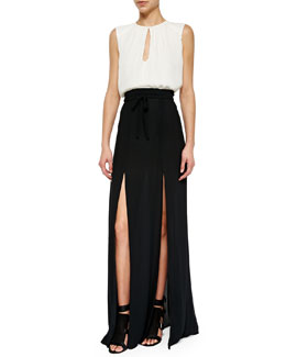 Sleeveless Silk Keyhole Blouse & Long Double-Slit Skirt