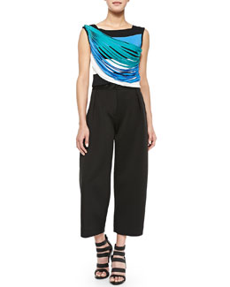 Sweeping Fringe Cropped Knit Tank & Neoprene Pleated Wide-Leg Pants
