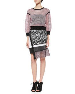 Solid-Trim Reversible Mesh Pullover & Printed Netted Sheer Combo Skirt