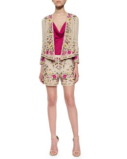 Floral-Embroidered Scalloped Jacket, Sleeveless Cowl-Neck Tank Top & Woven Floral-Embroidered Shorts