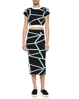Cropped Geometric-Print Knit Tee & Intarsia Knit Geometric-Print Pencil Skirt, Black/Blue