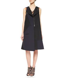 Tatum Bonded Utility Vest & Ribbon Jacquard Welt-Pocket Dress