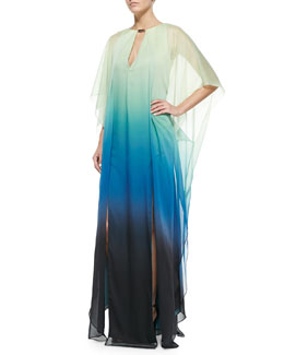 V-Neck Ombre Caftan with Sheer Overlay & Dangle Charm Necklace