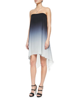 Ombre Cocktail Dress with Asymmetric Hem & Dangle Charm Necklace