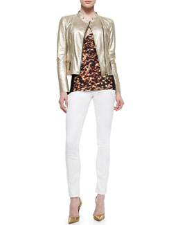 Metallic Laminated Leather Moto Jacket, Tortoise-Print Contrast-Side Top, Bi-Stretch Skinny Jeans