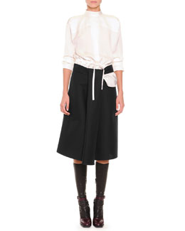 Slit-Back Drawstring Blouse, Slit Draped A-Line Skirt & Napa Leather Knee-High Socks