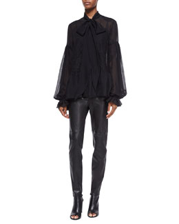 Scarf-Neck Chantilly Lace-Inset Blouse & High-Waist Skinny Leather Trousers
