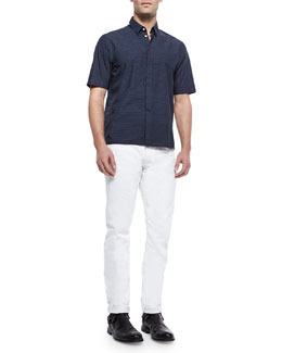 Casper Short-Sleeve Woven Shirt & White Selvedge Denim Jeans