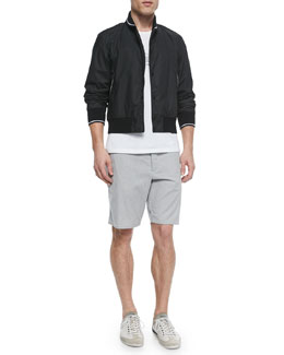 Contrast-Trim Woven Tracker Jacket, Moto Bike Printed Tee & Mini-Striped Beach Shorts