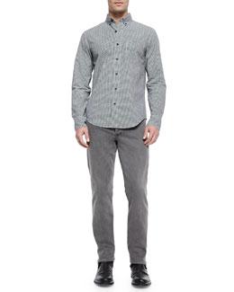 Yokohama Small-Check Woven Shirt & Slim-Leg Skinny Jeans