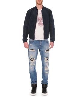 Harness Zip Bomber Jacket, Embossed Skull Graphic T-Shirt & Destroyed Denim Jeans
