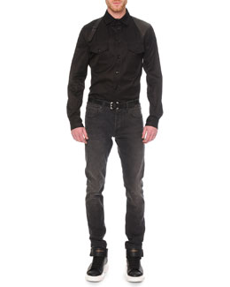 Leather Harness Long-Sleeve Shirt & Faded-Wash Stretch Denim Jeans